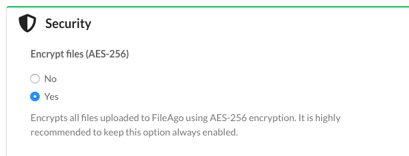 FileAgo AES256 encryption settings